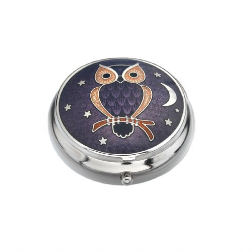 Pill Box Silver Plated Owl Moon and Stars Purple Brand New and Boxed